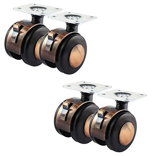 Casters 4Pcs Retro-Lenkrollen, 2-Zoll-Möbel Schwenkrollen, Mit Bremse Ersatzrad, Keine Geräusche (rot Kupferfarben)