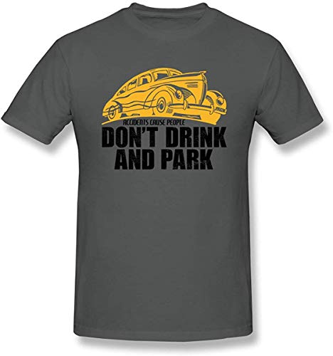Kaured Herren's Don't Drink and Park Pop Culture Short Sleeve Crew Neck Graphic T-Shirts