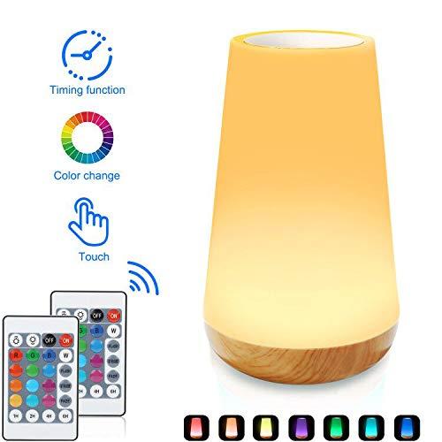 Lámpara de mesita de noche con sensor táctil, Ajuste táctil combinado con control remoto, 13 opciones de color LED, gradiente y función de color de conmutación rápida. (Luz de la noche)