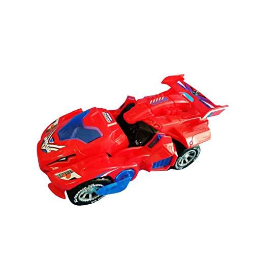 AAGOOD-Trasformare giocattolo Dinosaur regalo Robot veicolo con LED Light Music automatico Transform deformazione Dino auto Playset per bambini Red