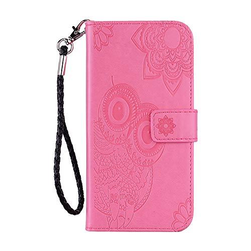 iPhone 12 Pro Max Hülle Eule 3D Prägung Stoßfest Flip Case Stand PU Leder Book Wallet Folio Cover Kartenhalter Magnetisch Silikon Bumper Folio Schutzhülle für iPhone 12 Pro Max 6.7 in Pink