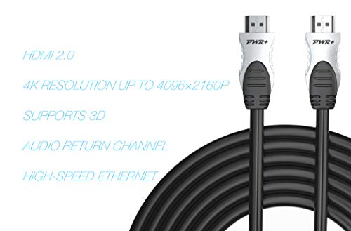 Pwr+ 100 Ft Max Length 4K HDMI Cable 2.0 with 90 Degree Adapter for PS3 PS4 Pro Xbox 360 Apple-TV Laptop Projector Computer Monitor PC: High-Speed Ultra Full HD 2160p 1080P Ethernet 3D