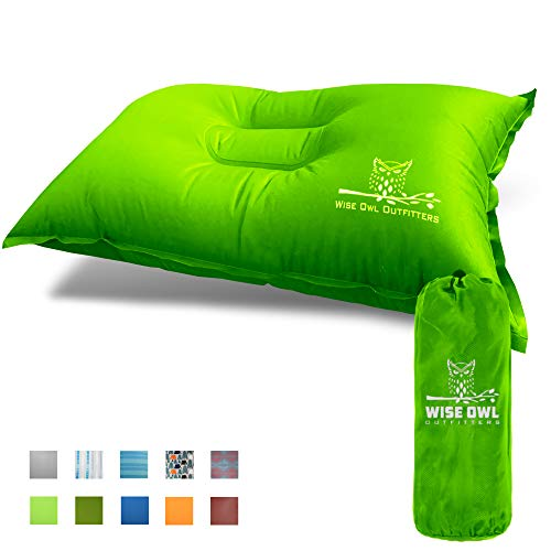 Wise Owl Outfitters Camping Pillow Lightweight & Self Inflating – Inflatable Foam & Air Compact Camp Pillow Best Lumbar Support Travel Airplane Camping Beach Hammock Backpacking Hiking Sleeping -LeLim