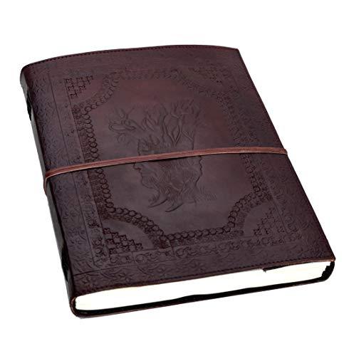 Stammbaum des Lebens - XXL (DIN B4 = mehr als A4) Leder HARDCOVER Notiz- Gäste- Skizzenbuch Handarbeit NEUE PAPIERART