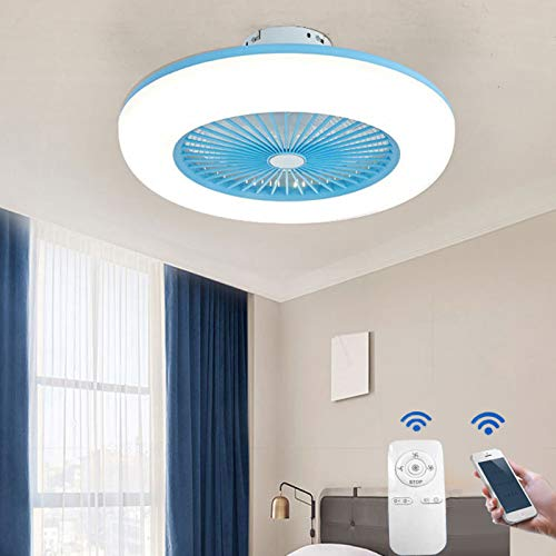 WENY Ventilador De Techo Silencioso con Luz Led Aplicación Y Control Remoto Regulable Sala Ventilador De Techo Silencioso con por Dormitorios Cocina Cuarto De Los Niños,Azul