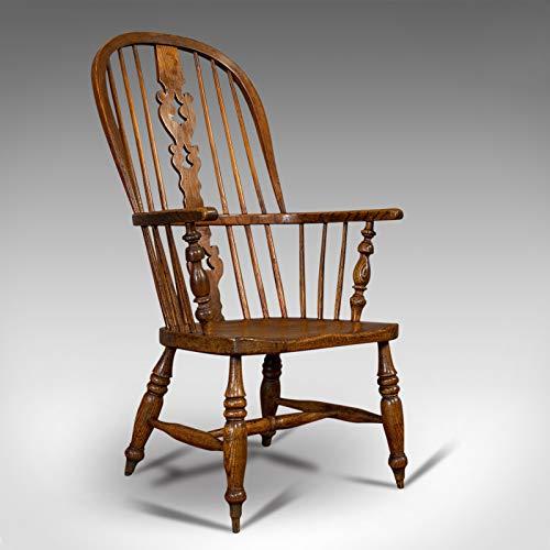 Antiker Windsor Stuhl, Britisch, Ulme, Esche, Ellbogen, Sessel, Viktorianisch, Circa 1860