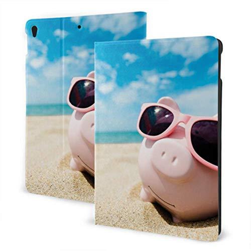 Funda Plegable para iPad 2019 iPad Air3 / 2017 Funda iPad Pro de 10,5 Pulgadas/Funda para iPad 2019 7th 10,2 Pulgadas Lechones con Gafas de Sol en la Playa en Verano Funda para iPad para niños Des