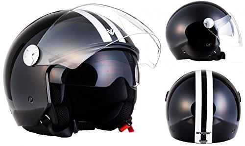 "ARMOR · AV-63 ""Fun Shiny Black"" (Schwarz) · Jet-Helm · Mofa Motorrad-Helm Bobber Scooter-Helm Chopper Roller · ECE certified · Separate Visors · Click-n-Secure Clip · Tragetasche · XS (53-54cm)"