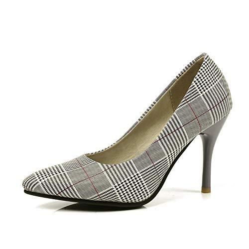 Frühling und Herbst Stöckelschuhe mit hohem Absatz, Flache Schuhe, Größenschuhe, Damenschuhe, Kariertes Rot, 43