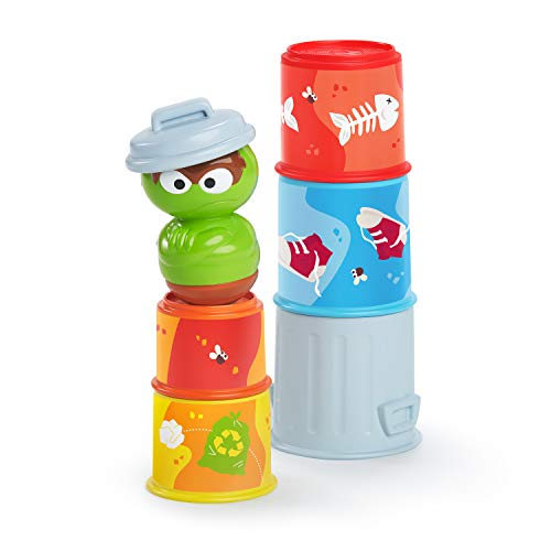 Bright Starts Sesame Street Oscar the Grouch's Stacking Cans Stackable Cups, Ages 3-12 months