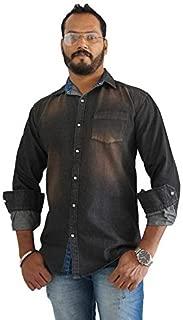 SKOR NX Men's Denim/Jeans Black Solid Full Sleeve Casual Slim Fit Shirt