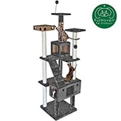 ENTERTAINMENT: The Furhaven Cat Tree Tower Condo Playground features fun and stimulating activities for your favorite kitty! Entertain them with a hanging prey mouse toy, two puff ball toys, a dangling rope, and an engaging cat IQ busy box. SCRATCHIN...