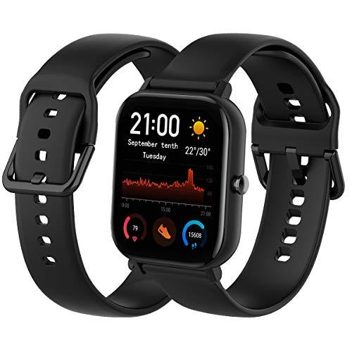 Th-some Cinturino per Smartwatch Amazfit GTS,Cinturino di Ricambio in Silicone Compatibile con Xiaomi Huami Amazfit GTS/Amazfit Bip/Amazfit GTR 42mm(Nero)