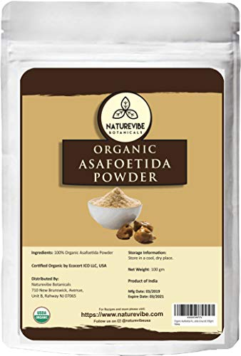 Naturevibe Botanicals Organic Asafetida Powder 100gm (Hing, Asafoetida Ground) 3.53oz | Non-GMO and Gluten Free | Indian Seasoning | Adds Aroma and Flavor…
