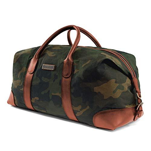 DRAKENSBERG Duffel Weekender - große Reisetasche im Retro-Vintage-Design, Damen und Herren, handgemacht in Premium-Qualität, 60L, Canvas und Leder, Camouflage-Grün, DR00136