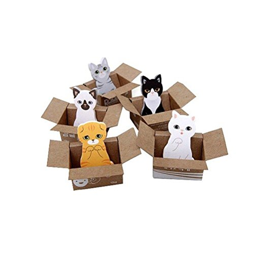 TUANTUAN 5 Pcs Mini Cute Cat Sticky Note Novelty Cartoon Animal Memo Pad Lovely Kitty Self-Stick Note Bookmark Page Flags Index Tab Reminder Sticky Notes