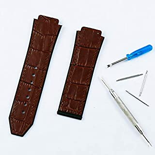 Watchbands - Watch accessories men's 19mm x 25mm leather strap for Hublot series fashion business 22mm buckle ladies rubbe...