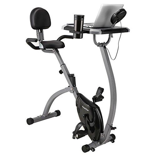Finether Bicicleta Estática Plegable Magnética con Respaldo, Bicicleta Fitness Plegable, Bicicleta Ajustable Gimnasio con Monitor LCD, Sensor de Pulso y Soporte para Tablet, Carga Máxima 100 kg