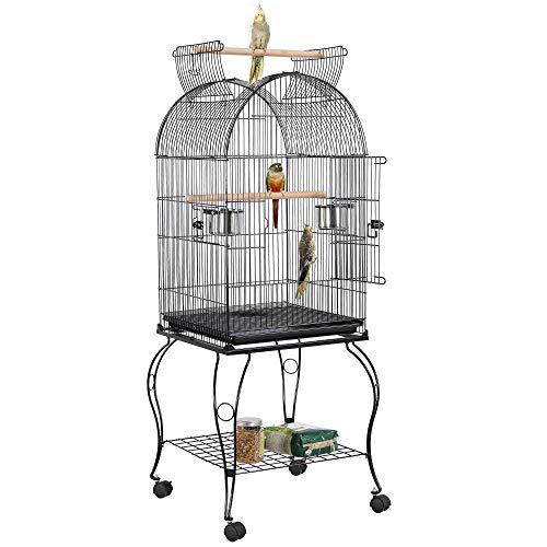 Yaheetech Vogelkäfig mit abziehbare Ständer Sittichkäfig Nymphensittich Vogelvoliere Kanarien Käfig Vogelhaus 3 Verschiedene Käfigdach