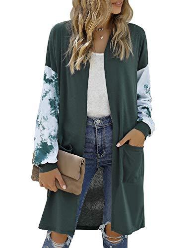 LookbookStore Women's Casual Open Front Patchwork Long Knit Cardigan Pocket Outerwear Dark Green Size Medium