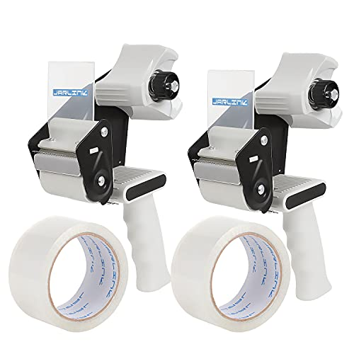 JARLINK Packing Tape Dispenser Gun (2 Pack) with 2 Rolls Tape, 2 inches Lightweight Industrial Side Loading Tape Dispenser for Shipping Packaging...