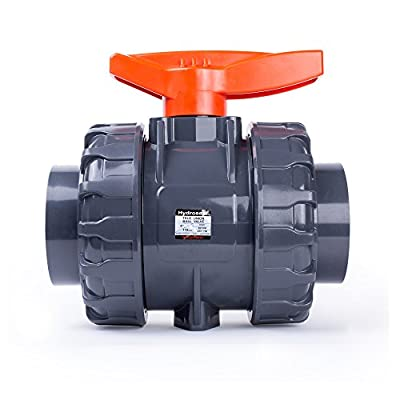 """HYDROSEAL Kaplan 4"""" PVC True Union Ball Valve with Full Port, ASTM F1970, EPDM O-Rings and Reversible PTFE Seats, Rated at 200 PSI @73F, Gray, 4 inch Socket (4"""") from HYDROSEAL"""