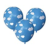 Iwinna 12 Inch Latex Balloons, Sky Clouds Blue Birthday Balloon Party Wedding Home Room Decoration f...