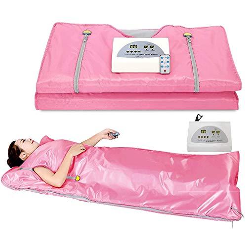 WWXXCC Manta Sauna infrarrojo lejano Digital de Calor Sauna Calefacción Manta, 2 Controlador de Zona, para Reducir el Peso Corporal Delgada Home Productos de Belleza,Rosado