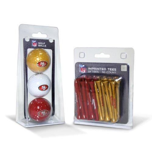 Team Golf NFL San Francisco 49ers Logo gedruckte Golfbälle (3 Stück) & 6,5 cm Regulation Golf Tees (50 Stück), Mehrfarbig
