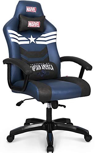 Marvel Avengers Gaming Chair Office Chair High Back Computer Chair PU Leather Desk Chair PC Racing Executive Ergonomic Adjustable Swivel Task Chair Headrest and Lumbar Support (Captain America, Blue)