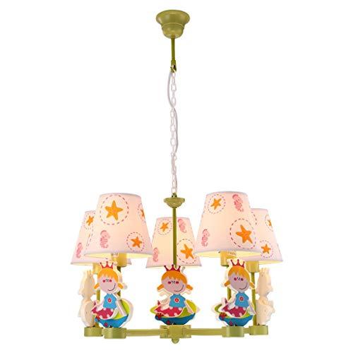 WYBW Novedosa lámpara de araña – Lámpara de techo simple Pastoral Mediterránea LED dibujos animados Girl Princess iluminación para salón, dormitorio, pasillo, habitación infantil