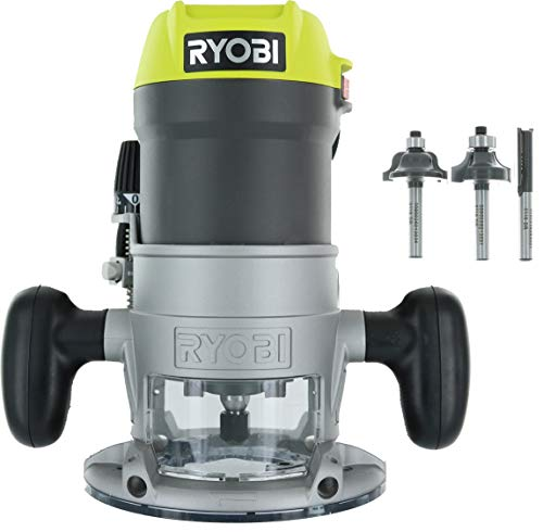 Ryobi R1631K 1-1/2 Peak HP LED Lit Corded Router Including 3 Piece Bit Set (w/ Tool Bag)