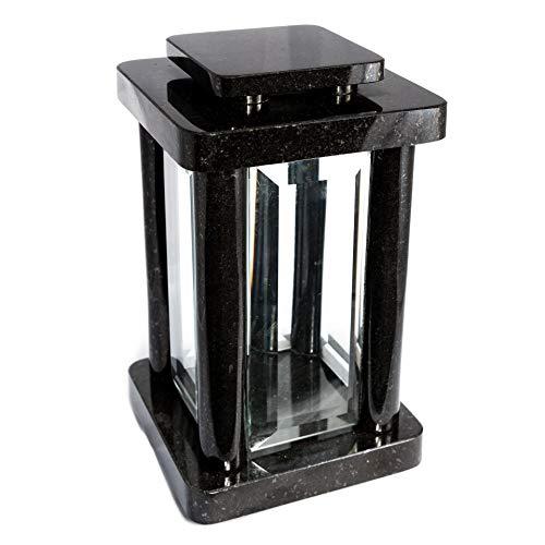 Afterglow Hochwertige Grablampe Monument aus echtem Granit Granit Schwedisch Black Höhe 25,5 cm/Ø 14,5 cm cm Grableuchte Grablicht Grablampe Granitlampe Granitlaterne Bronze mit Sockel Grabschmuck