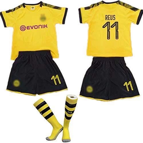CJM Camiseta de fútbol de Jersey/NO.11 de Marco Reus, Absorbe la Humedad, Transpirable de Secado rápido, Apta para 3-13 años, Amarilla (tamaño estándar 16-28)