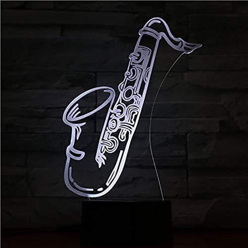 Saxofoon nachtlampje voor kinderen, 3D-illusielamp, 7 kleuren, met afstandsbediening, sfeerlicht, vakantie en verjaardagscadeau voor jongens en meisjes