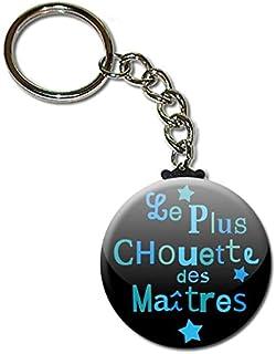 Le Plus Chouette des Maîtres Porte Clés Chaînette 3,8 centimètres Idée Cadeau Accessoire Fin d'année Scolaire École Noël R...