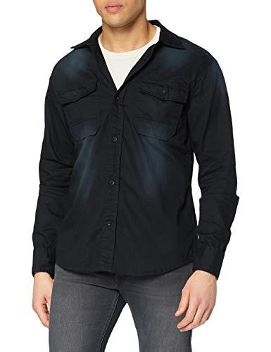 Brandit Hardee Denim Shirt Camisa, Schwarz, L para Hombre