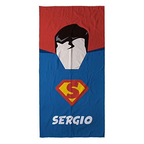 LolaPix Toalla Superhéroe Personalizada con Nombre. Toalla Infantil niño o niña. Regalo Original. Varios Diseños y Tamaños. Superman