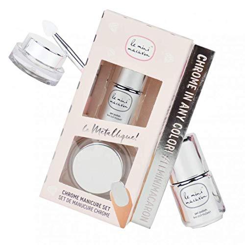 Le Mini Macaron • Kit Chrome Powder • Poudre Métallique pour des Ongles Effet Miroir Argenté • Manucure Chrome • Top Coat Inclus