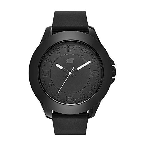 Skechers SR5008 Reloj Análogo para Hombre Extensible de Silicon, color Negro