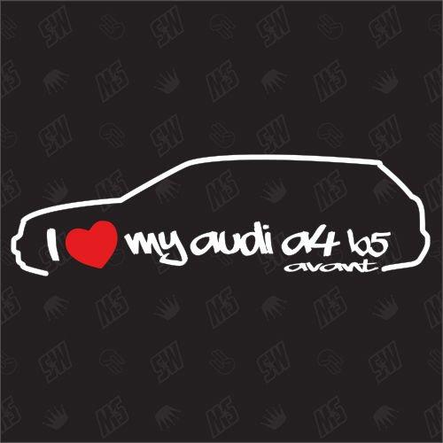 speedwerk-motorwear I Love My A4 B5 Avant - Sticker Bj.95-99, kompatibel mit Audi