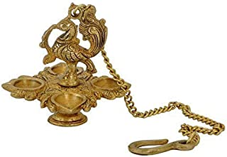 PARIJAT HANDICRAFT Traditional Peacock Brass Hanging Diya with 11 Inch Chain | Deepak | Oil Lamp | Home Decor | Spritiual ...