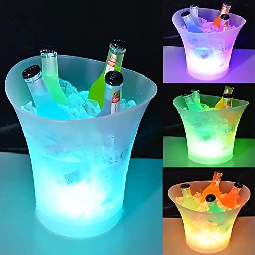 LED Eiskübel 5L, Multicolor LED Sektkübel, Wein-und Getränkebehälter mit großem Fassungsvermögen, Eiskübel mit mehreren Farben, geeignet für Festival/Party/Zuhause/Bar/Themenrestaurant