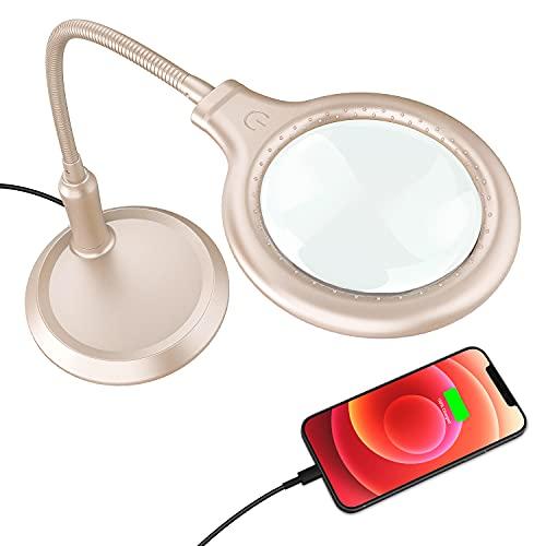 Delixike - Lupa de escritorio recargable con lupa de mano libre con luz y soporte, diseño plegable con 30 luces LED para lectura, pasatiempos, costura, manualidades, banco de trabajo, oro