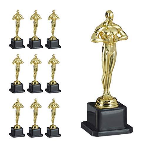 Relaxdays 10 x Siegerfigur, quadratischer Sockel, Figur mit Kranz, Siegertrophäe, Hollywood, Geschenkidee, 18 cm groß, Gold