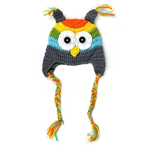 TOOGOO(R) Recien Nacido Sombrero 6-18 Meses Recien Nacido Bebe Infantil Nino Tejer Crochet Apoyo de la Foto Disfraz Buho Sombrero (Gris)