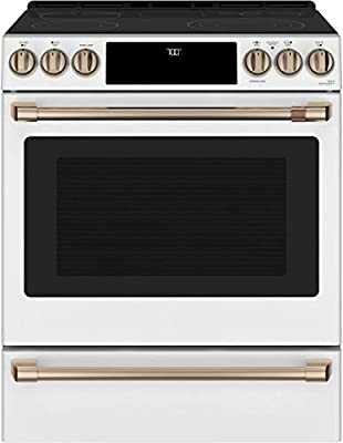 "GE Cafe CES700P4MW2 30"" Matte Collection Slide-In Front Control Radiant and Convection Range with Warming Drawer, WiFi Connect, Temperature Probe, 5.7 cu. ft. Oven Capacity in Matte White"