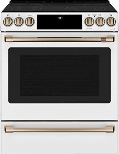 GE Cafe CES700P4MW2 30' Matte Collection Slide-In Front Control Radiant and Convection Range with Warming Drawer, WiFi Connect, Temperature Probe, 5.7 cu. ft. Oven Capacity in Matte White