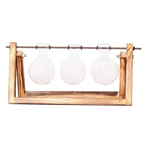 WINOMO Desktop Glas Pflanzer Bulb Vase mit klassischen festen Holzständer und Metallwirbel Halter für Hydroponics Pflanzen Hausgarten Hochzeit Dekor (3 Zwiebel Vase)