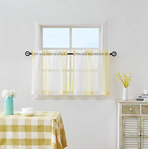 """Central Park Yellow and White Kitchen Window Curtain Tiers Vertical Stripe Sheer Boucle Linen Window Curtain, Living Room Decorative Rod Pocket Rustic Living 2 Panels (28"""" W x 24"""" L)"""